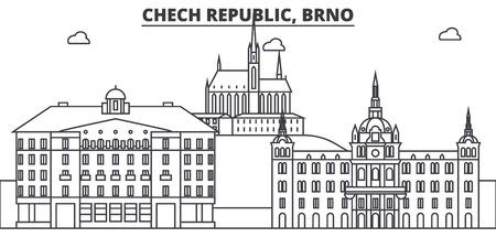 チェコ共和国のブルノ建築線スカイラインの図。有名なランドマーク、観光、デザイン アイコンと線形ベクトル街並み。編集可能なストローク