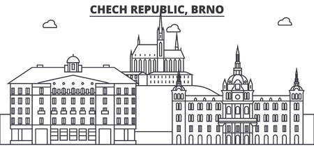Chech 공화국, 브르노 건축 라인 스카이 라인 그림. 선형 벡터 도시의 유명한 랜드 마크, 도시 명소, 디자인 아이콘. 편집 가능한 스트로크 일러스트