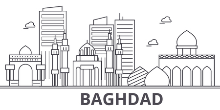 Baghdad architecture line skyline illustration. Linear vector cityscape with famous landmarks, city sights, design icons. Editable strokes