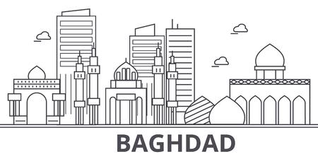Van de de architectuurlijn van Bagdad de horizonillustratie. Lineaire vector stadsgezicht met beroemde bezienswaardigheden, bezienswaardigheden van de stad, ontwerp pictogrammen. Bewerkbare lijnen Stock Illustratie