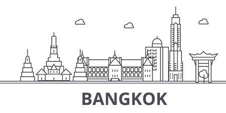 Ilustracja panoramę linii architektury Bangkoku. Liniowy wektor pejzaż ze słynnymi zabytkami, zabytkami miasta, ikonami projektowania. Edytowalne obrysy