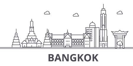 Bangkok architecture line skyline illustration. Linear vector cityscape with famous landmarks, city sights, design icons. Editable strokes