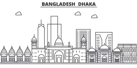 バングラデシュ、ダッカ建築線スカイラインの図。有名なランドマーク、観光、デザイン アイコンと線形ベクトル街並み。編集可能なストローク