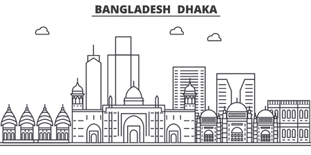 Bangladesh, Dhaka architecture line skyline illustration. Linear vector cityscape with famous landmarks, city sights, design icons. Editable strokes Illusztráció
