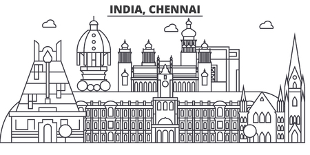 Chennai, India architecture line skyline illustration. Linear vector cityscape with famous landmarks, city sights, design icons. Editable strokes Illustration