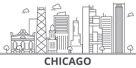 シカゴ建築線スカイラインの図。有名なランドマーク、観光、デザイン アイコンと線形ベクトル街並み。編集可能なストローク  イラスト・ベクター素材