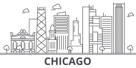 Chicago architecture line skyline illustration. Linear vector cityscape with famous landmarks, city sights, design icons. Editable strokes