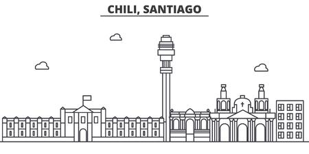 チリ、サンティアゴ建築線スカイラインの図。有名なランドマーク、観光、デザイン アイコンと線形ベクトル街並み。編集可能なストローク  イラスト・ベクター素材