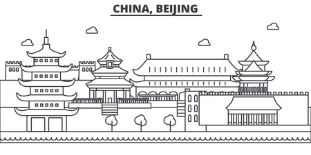 China, Beijing architecture line skyline illustration. Linear vector cityscape with famous landmarks, city sights, design icons. Editable strokes