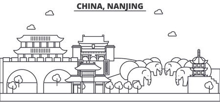 China, Nanjing architecture line skyline illustration. Linear vector cityscape with famous landmarks, city sights, design icons. Editable strokes Иллюстрация