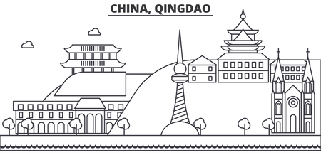 China, Qingdao architecture line skyline illustration. Linear vector cityscape with famous landmarks, city sights, design icons. Editable strokes