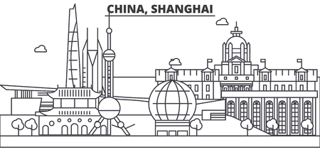 China, Shanghai architecture line skyline illustration. Linear vector cityscape with famous landmarks, city sights, design icons. Editable strokes