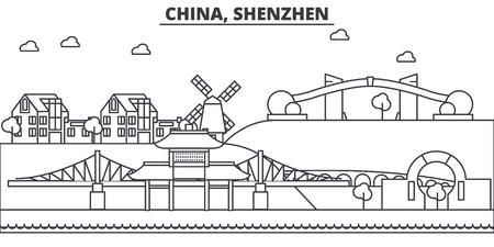 中国、深セン建築線スカイラインの図。有名なランドマーク、観光、デザイン アイコンと線形ベクトル街並み。編集可能なストローク