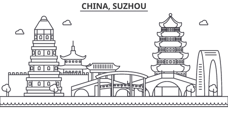 China, Suzhou architecture line skyline illustration. Linear vector cityscape with famous landmarks, city sights, design icons. Editable strokes 向量圖像