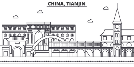China, Tianjin 1 architecture line skyline illustration. Linear vector cityscape with famous landmarks, city sights, design icons. Editable strokes Banco de Imagens - 87743330