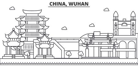 中国、武漢建築線スカイラインの図。有名なランドマーク、観光、デザイン アイコンと線形ベクトル街並み。編集可能なストローク  イラスト・ベクター素材
