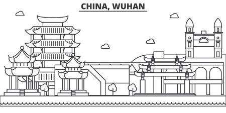 China, Wuhan architecture line skyline illustration. Linear vector cityscape with famous landmarks, city sights, design icons. Editable strokes