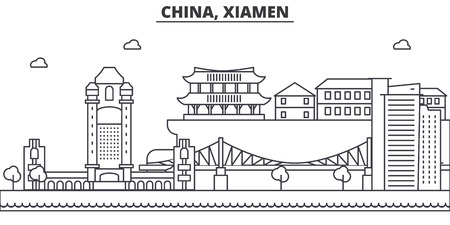 China, Xiamen architecture line skyline illustration. Linear vector cityscape with famous landmarks, city sights, design icons. Editable strokes