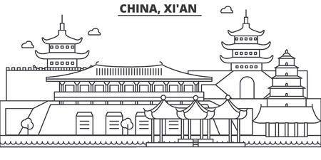 China, Xian architecture line skyline illustration. Linear vector cityscape with famous landmarks, city sights, design icons. Landscape wtih editable strokes