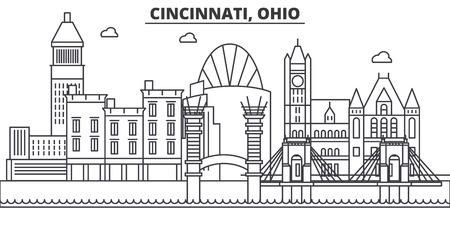 シンシナティ、オハイオ州建築線スカイラインの図。有名なランドマーク、観光、デザイン アイコンと線形ベクトル街並み。編集可能なストローク  イラスト・ベクター素材