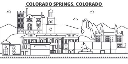 コロラド スプリングス建築線スカイラインの図。有名なランドマーク、観光、デザイン アイコンと線形ベクトル街並み。編集可能なストローク