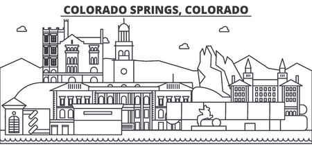 Colorado Springs architecture line skyline illustration. Linear vector cityscape with famous landmarks, city sights, design icons. Editable strokes Ilustração