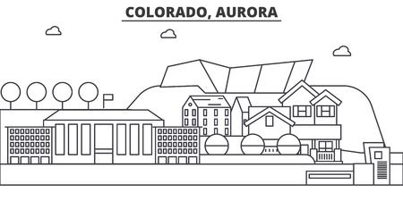 コロラド州オーロラ建築線スカイラインの図。有名なランドマーク、観光、デザイン アイコンと線形ベクトル街並み。編集可能なストローク  イラスト・ベクター素材