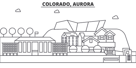 Colorado, Aurora architecture line skyline illustration. Linear vector cityscape with famous landmarks, city sights, design icons. Editable strokes