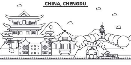 China, Chengdu architecture line skyline illustration. Linear vector cityscape with famous landmarks, city sights, design icons. Editable strokes Ilustrace