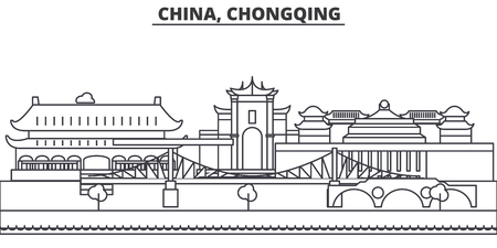 China, Chongqing architecture line skyline illustration. Linear vector cityscape with famous landmarks, city sights, design icons. Editable strokes