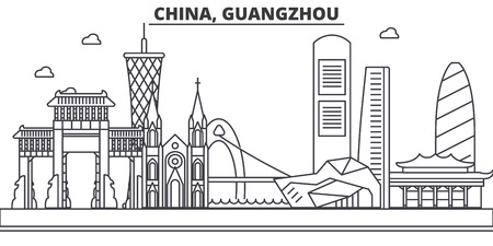 China, Guangzhou architecture line skyline illustration. Linear vector cityscape with famous landmarks, city sights, design icons. Editable strokes 版權商用圖片 - 87743341