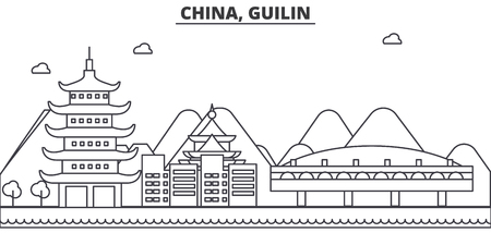 China, Gulin architecture line skyline illustration. Linear vector cityscape with famous landmarks, city sights, design icons. Editable strokes
