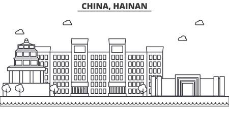 中国、海南省建築線スカイラインの図。有名なランドマーク、観光、デザイン アイコンと線形ベクトル街並み。編集可能なストローク