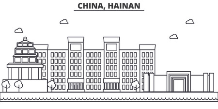 China, Hainan architecture line skyline illustration. Linear vector cityscape with famous landmarks, city sights, design icons. Editable strokes Иллюстрация