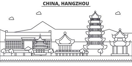中国、杭州建築線スカイラインの図。有名なランドマーク、観光、デザイン アイコンと線形ベクトル街並み。編集可能なストローク  イラスト・ベクター素材