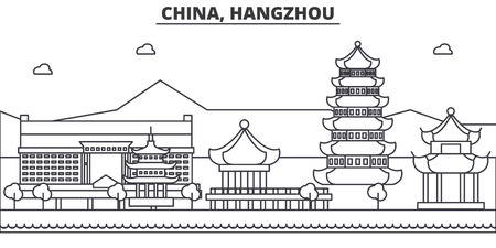 China, Hangzhou architecture line skyline illustration. Linear vector cityscape with famous landmarks, city sights, design icons. Editable strokes Vettoriali