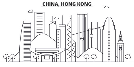 China, Hong Kong architecture line skyline illustration. Linear vector cityscape with famous landmarks, city sights, design icons. Editable strokes Фото со стока - 87743346