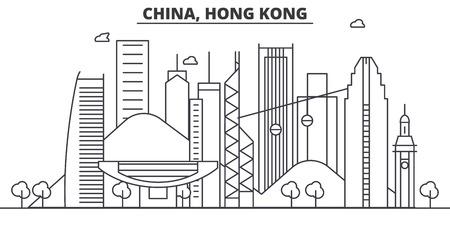 China, Hong Kong arquitectura línea horizonte ilustración. Paisaje urbano de vector lineal con monumentos famosos, lugares de interés de la ciudad, iconos de diseño. Trazos editables Ilustración de vector