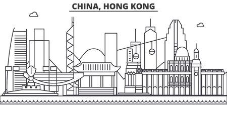 中国、香港 1 建築線スカイラインの図。有名なランドマーク、観光、デザイン アイコンと線形ベクトル街並み。編集可能なストローク