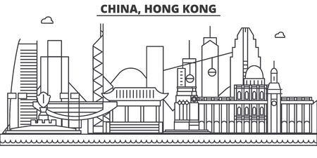 China, Hong Kong 1 architecture line skyline illustration. Linear vector cityscape with famous landmarks, city sights, design icons. Editable strokes