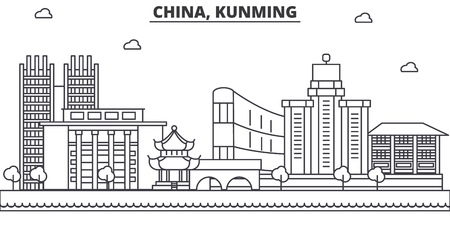 China, Kunming architecture line skyline illustration. Linear vector cityscape with famous landmarks, city sights, design icons. Editable strokes 向量圖像