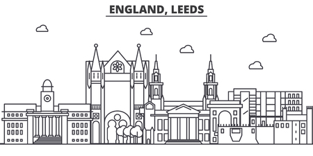 England, Leeds architecture line skyline illustration. Linear vector cityscape with famous landmarks, city sights, design icons. Editable strokes