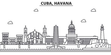 キューバ、ハバナ建築線スカイラインの図。有名なランドマーク、観光、デザイン アイコンと線形ベクトル街並み。編集可能なストローク