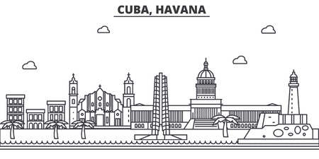 쿠바, 하바나 아키텍처 라인 스카이 라인 그림입니다. 선형 벡터 도시의 유명한 랜드 마크, 도시 명소, 디자인 아이콘. 편집 가능한 스트로크