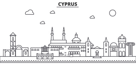 キプロス建築線スカイラインの図。有名なランドマーク、観光、デザイン アイコンと線形ベクトル街並み。編集可能なストローク