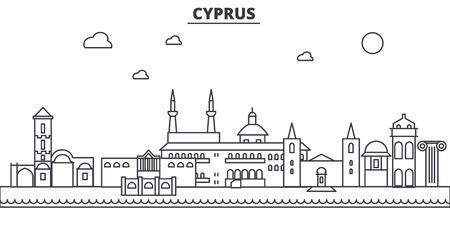Linea di architettura di Cipro skyline illustrazione. Paesaggio urbano di vettore lineare con famosi monumenti, attrazioni turistiche, icone del design. Tratti modificabili Archivio Fotografico - 87743350