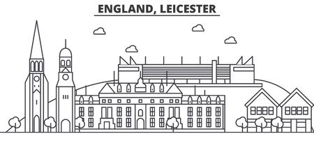 イングランド、レスター建築線スカイラインの図。有名なランドマーク、観光、デザイン アイコンと線形ベクトル街並み。編集可能なストローク