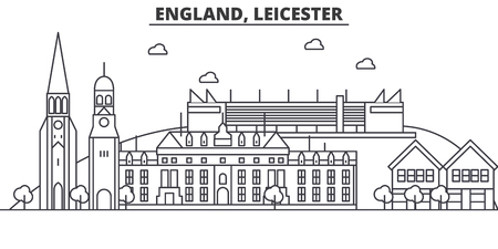England, Leicester architecture line skyline illustration. Linear vector cityscape with famous landmarks, city sights, design icons. Editable strokes Illustration