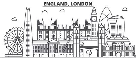 イギリス、ロンドンの建築線のスカイラインの図。有名なランドマーク、観光、デザイン アイコンと線形ベクトル街並み。編集可能なストローク  イラスト・ベクター素材