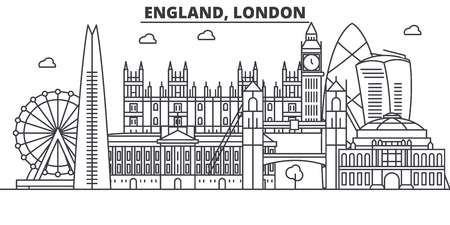 England, London architecture line skyline illustration. Linear vector cityscape with famous landmarks, city sights, design icons. Editable strokes
